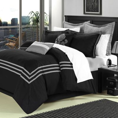 Chic Home Cosmo 8-Piece Queen Comforter Set in Black