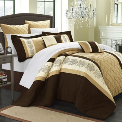 Chic Home Livingston 8-Piece Queen Comforter Set in Gold