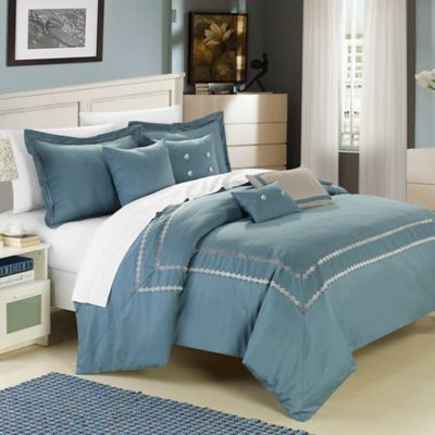 Chic Home Mandalay 7-Piece Queen Comforter Set in Silver Blue