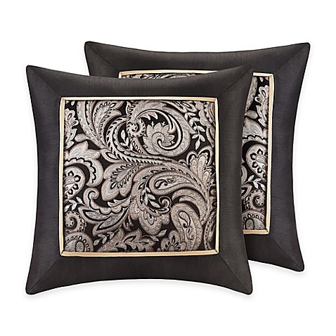 Black Throw Pillows Bed Bath And Beyond : Buy Madison Park Aubrey Square Throw Pillows in Black (Set of 2) from Bed Bath & Beyond