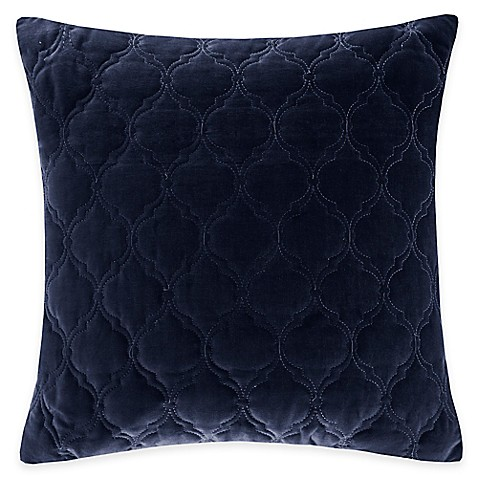 Quality Throw Pillows : Buy Madison Park Cotton Velvet Ogee Quilted Reversible Square Throw Pillow in Indigo from Bed ...