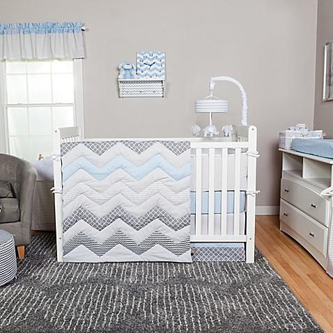 Trend Lab 174 Blue Taffy Chevron 3 Piece Crib Bedding Set