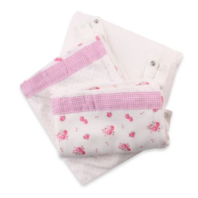 Minene 3-in-1 Rose Print Crib Sheet and Protector Set in Cream/Pink