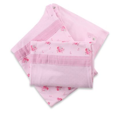 Minene 3-in-1 Rose Print Crib Sheet and Protector Set in Pink