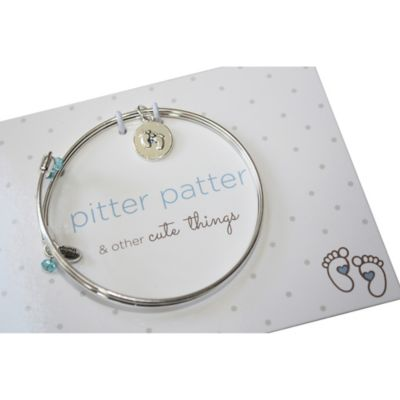 trinky things® Baby Feet Bangle Bracelet/Card Gift Set for Mom in Blue