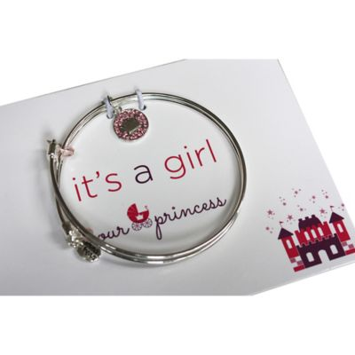 trinky things® Crown Bangle Bracelet/Card Gift Set for Mom in Pink