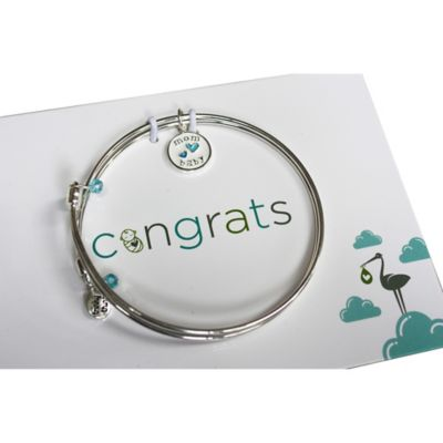 trinky things® Double Heart Bangle Bracelet/Card Gift Set for Mom in Blue