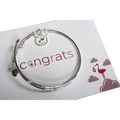 trinky things® Double Heart Bangle Bracelet/Card Gift Set for Mom in Pink
