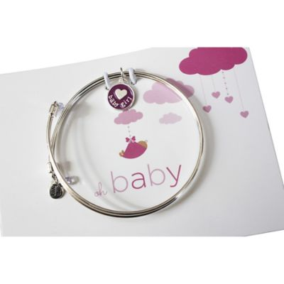 trinky things® Baby Heart Bangle Bracelet/Card Gift Set for Mom in Pink