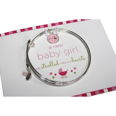 trinky things® Stroller Bangle Bracelet/Card Gift Set for Mom in Pink