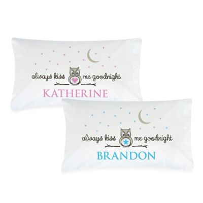 """Always Kiss Me Goodnight"" Pillowcase in Grey/Blue"