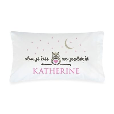 """Always Kiss Me Goodnight"" Pillowcase in Grey/Pink"
