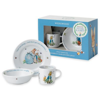 Wedgwood® Peter Rabbit™ 3-Piece Porcelain Nursery Set in Blue Multi