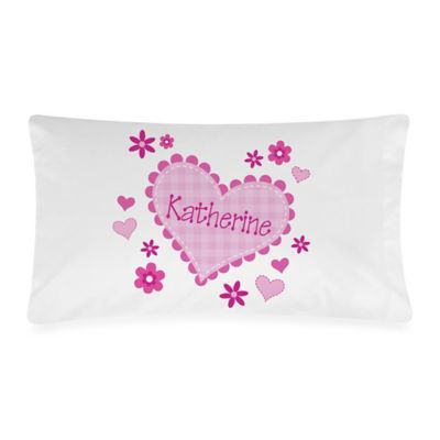 Little Sweetheart Cotton Pillowcase in White/Pink