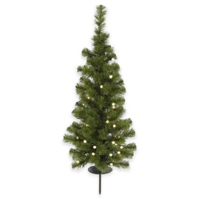 Vickerman 3-Foot Solar Christmas Tree with White LED Lights