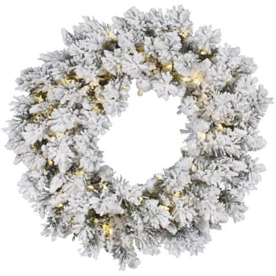 Vickerman Snow Ridge 36-Inch Pre-Lit Flocked Wreath with Warm White LED Lights