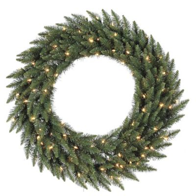 Vickerman 48-Inch Camdon Fir Pre-Lit Wreath with Frosted Warm White LED Lights