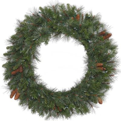 Vickerman Savannah Mixed Pine 48-Inch Pre-Lit Wreath with Pinecones and Warm White LED Lights