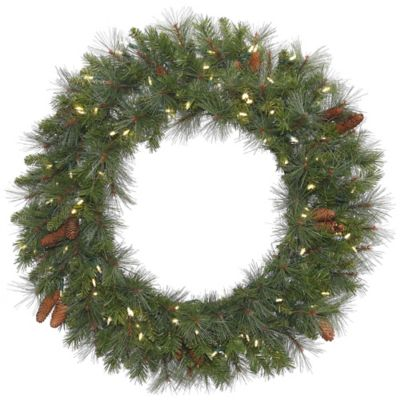 Vickerman Savannah 48-Inch Pre-Lit Wreath with Warm White LED Lights