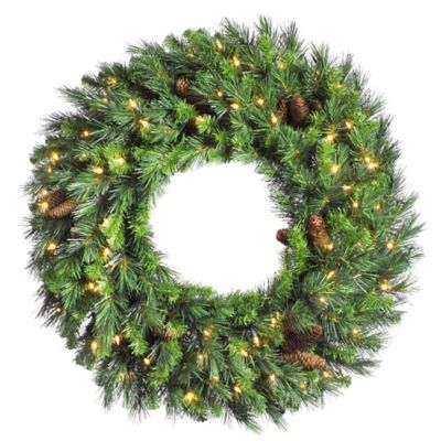 Vickerman Cheyenne 42-Inch Dura-Lit Pre-Lit Wreath with Pinecones and Clear Lights
