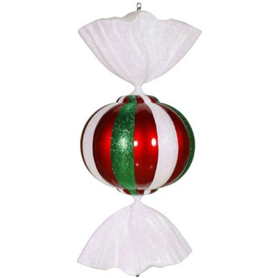 Vickerman 36-Inch Round Jumbo Peppermint Candy Ornament in Red/White/Green