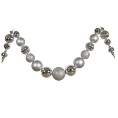Vickerman 14-Inch Matte/Shiny Silver Ball Garland