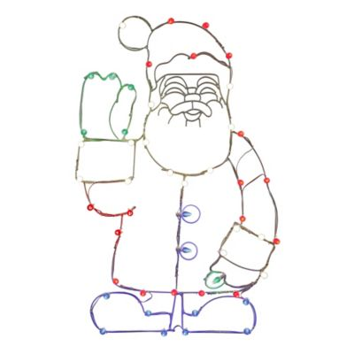 Vickerman 48-Inch Pre-Lit Wire Waving Santa Outdoor Decoration