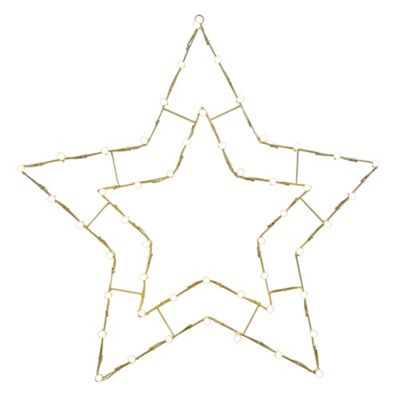 Vickerman 48-Inch Pre-Lit Wire 5-Point Star Outdoor Decoration in White
