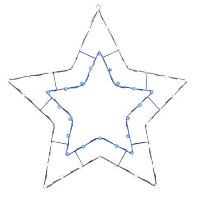 Vickerman 48-Inch Pre-Lit Wire 5-Point Star Outdoor Decoration in Blue/White