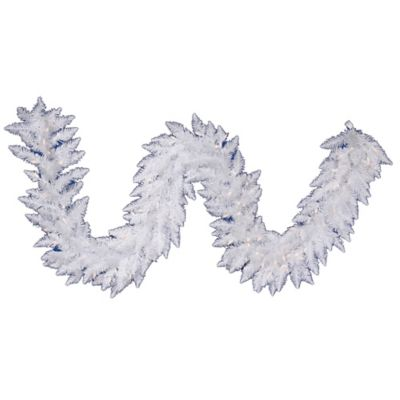 Vickerman 9-Foot Pre-Lit Sparkle White Spruce Garland with White Lights