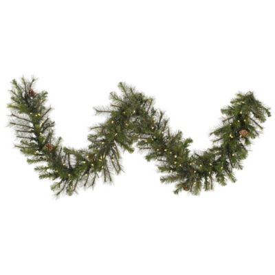 Vickerman 9-Foot Modesto Mixed Pine Pre-Lit Garland with Pinecones and Warm White LED Lights