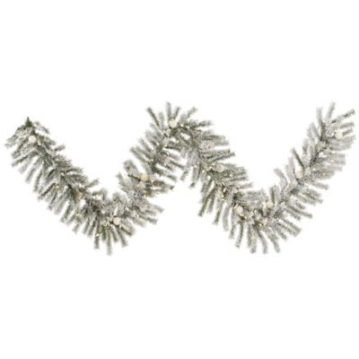 Vickerman 9-foot Flocked London Fir Pre-Lit Garland with Warm White LED and Frosted LED Lights