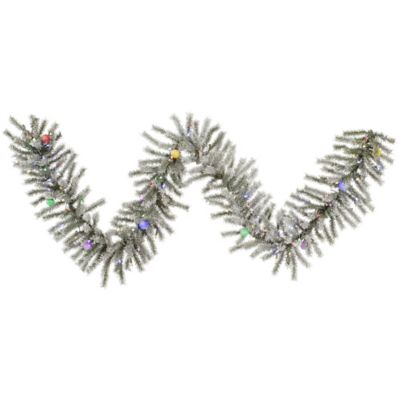 Vickerman Flocked London Fir 9-Foot Pre-Lit Garland with Multicolor LED and Mini LED Lights