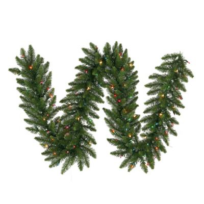 Vickerman Camdon Fir 9-Foot Garland in Green with Multicolor LED Lights