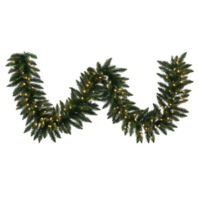 Vickerman Camdon Fir 25-Foot Garland in Green with Warm White LED Lights