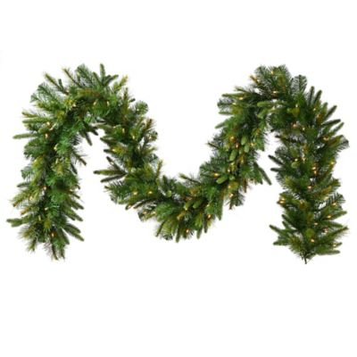 Vickerman 50-Foot Dura-Lit Pre-Lit Cashmere Pine Garland in Green with Clear Lights