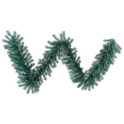 Vickerman Tinsel 9-Foot Pre-Lit Garland in Aqua with Teal Lights