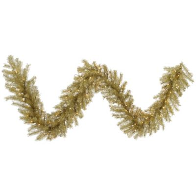 Vickerman 9-Foot Tinsel Pre-Lit Garland in Gold/Silver with Clear Dura-Lit Lights