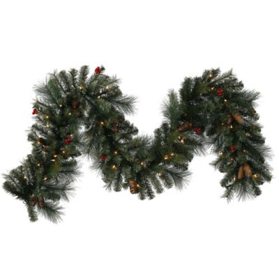 Vickerman Mix Pine 9-Foot Pre-Lit Garland in Green with Pinecones, Berries, and Clear Lights