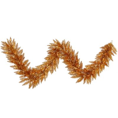 Vickerman 9-Foot Pre-Lit Copper Garland with Clear Mini Lights