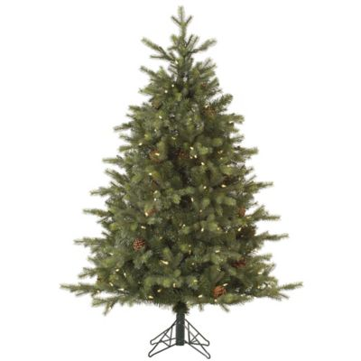 Vickerman 7.5-Foot Rocky Mountain Fir Pre-Lit Christmas Tree with Pinecones and Warm White Lights