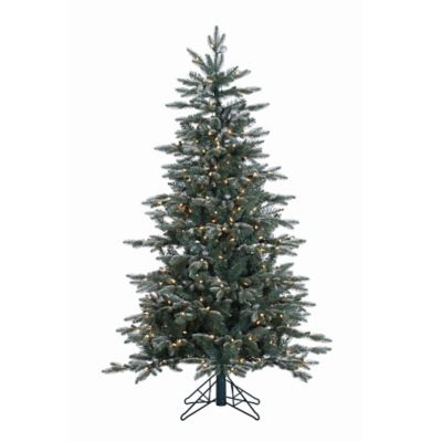 Vickerman 5-Foot Crystal Frost Balsam Fir Pre-Lit Christmas Tree with Silver Balls and Clear Lights