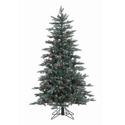 Vickerman 5-Foot Crystal Frost Balsam Fir Pre-Lit Christmas Tree with Silver Balls and Multi Lights