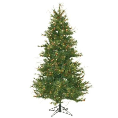 Vickerman 6.5-Foot Slim Mixed Country Pine Pre-Lit Christmas Tree with White LED Lights