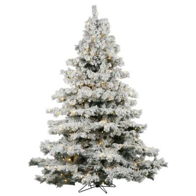 Vickerman 6.5-Foot Flocked Alaskan Pre-Lit Christmas Tree with Warm White LED Lights