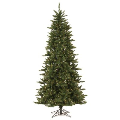 Vickerman 7.5-Foot Camdon Fir Pre-Lit Slim Christmas Tree with Warm White LED Lights
