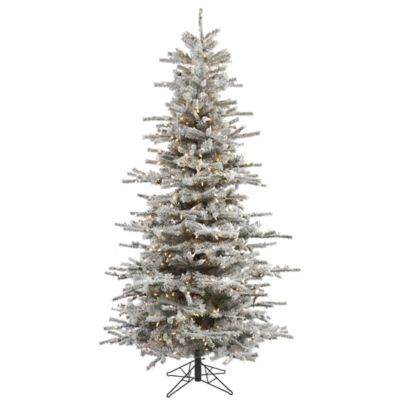 Vickerman 7.5-Foot Flocked Slim Sierra Dura-Lit Pre-Lit Christmas Tree with Clear Lights
