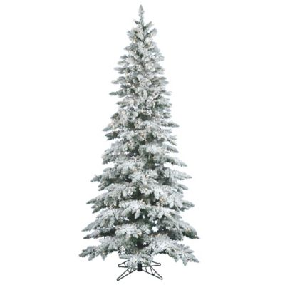 Vickerman 9-Foot Slim Utica Fir Dura-Lit Pre-Lit Flocked Christmas Tree with Clear Lights