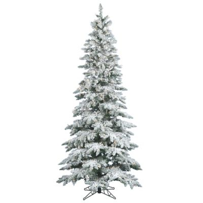 Vickerman 9-Foot Slim Utica Fir Dura-Lit Pre-Lit Flocked Christmas Tree with Warm WHite LED Lights