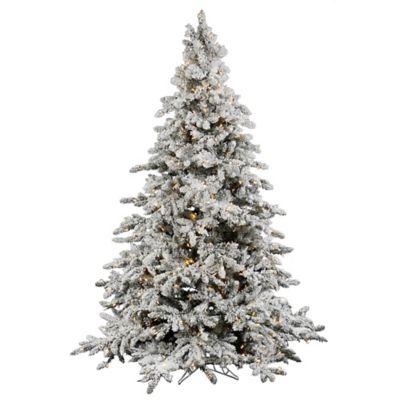 Vickerman 4.5-Foot Utica Fir Pre-Lit Flocked Christmas Tree with Warm White LED Lights